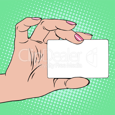 Business card or credit card in female hand