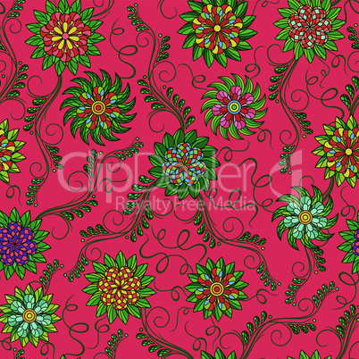 Seamless pattern with flowers over red