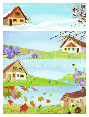 Four seasons year landscapes. Background vector illustration.