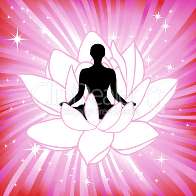 Woman in the yoga lotus flower asana sport on wave background. Silhouette pose in front of petal. Energy medicine vector illustration. Element for design.
