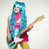 The girl in anime-style guitar playing.