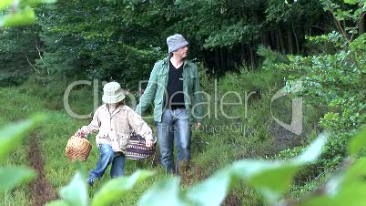 Vater und Sohn beim Pilze sammeln im Wald