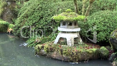Japanese Stone Lantern Pagoda and Pond