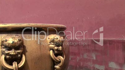 Lion Head Detail on Chinese Pot