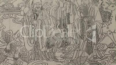 Chinese Mural Etched in Stone