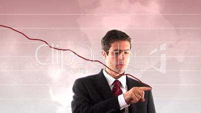 Stock Footage of Businessman showing downward Graph