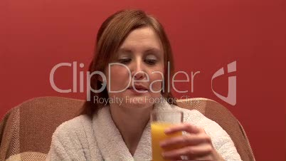 Woman Drinking Orange Juice 2