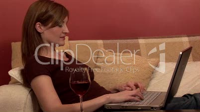 Woman Relaxing with Computer