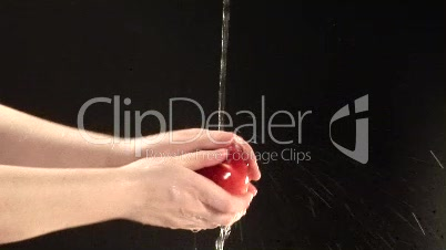 Stock Footage of Cleaning an Apple