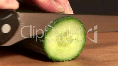 Stock Footage of Chopping Cucumber
