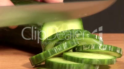 Time Lapse - Stock Footage of Chopping Cucumber