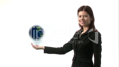 Woman Holding Globe and Smiling