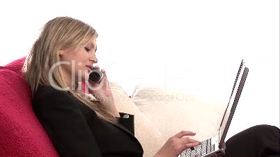 Video Footage of a Woman using  Laptop