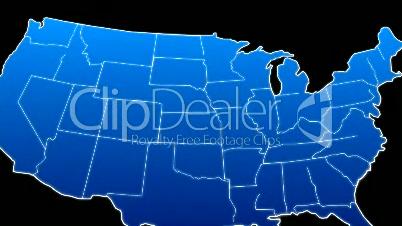 USA Map Veins Growth