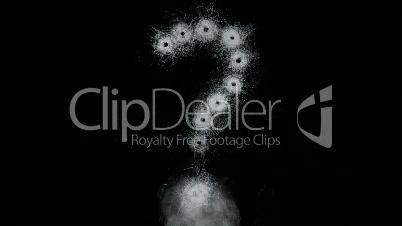 Glass gun Shots forming Questionmark