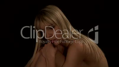 HD1080i Sexy young nude naked blond woman in dark studio