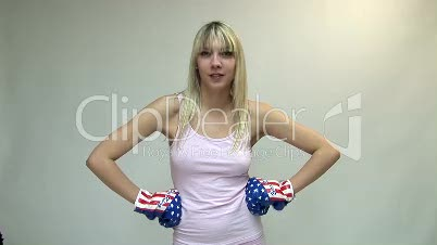 HD1080i Sexy young blond woman boxing