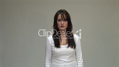 HD1080i Young brunette woman cry