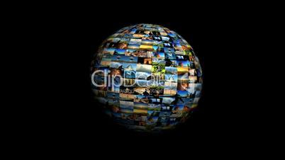 Langsam rotierender Globus aus Bildern