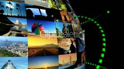 Rotierender Globus aus Bildern mit grünen Effekten