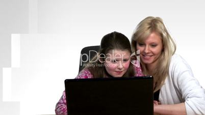 Mother helping Child on Computer
