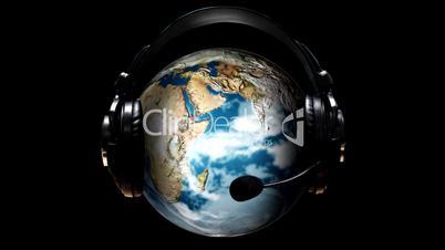 Animated Globe with earphones on it
