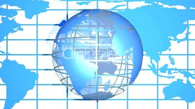 Blue World Mesh Globe with Map HD1080 Loopable