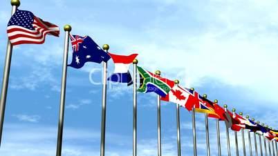 World Flags move across HD1080