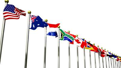 World Flags on White move Across HD1080