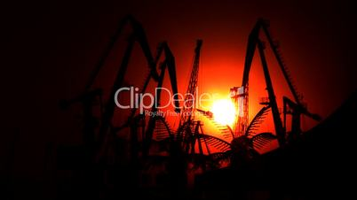 Industrial port at sunset
