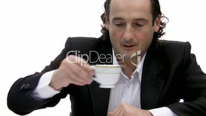 man drinks coffee.
