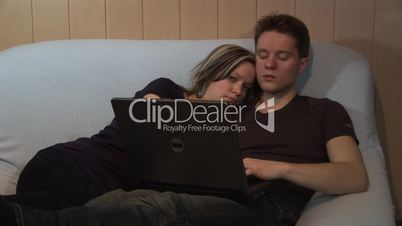 HD1080i Young couple chat on computer in internet