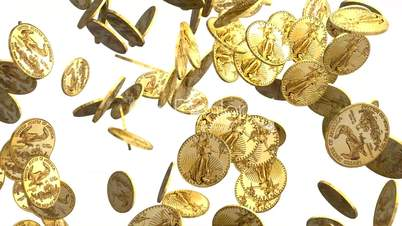 Gold Coins Falling on White Background