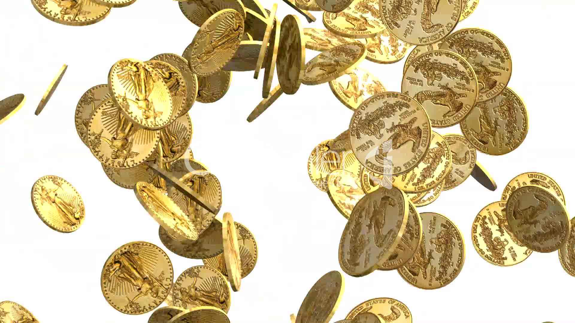 Gold Coins Falling On White Background Royalty Free Video And Stock Footage
