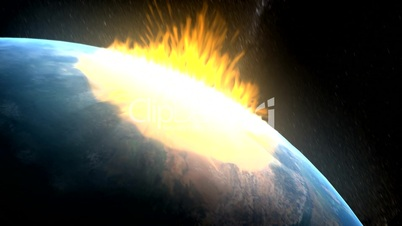 Apocalypse. Asteroid destroys the Earth.