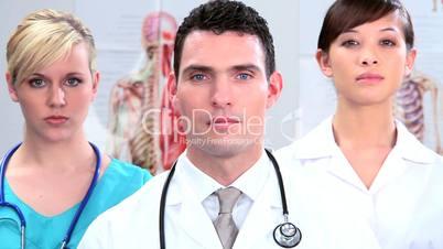 Arzt mit Stetoskop mit Ärztinnen