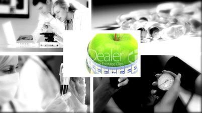 Grüner Apfel mit s/w Bilder aus dem Gesundheitswesen
