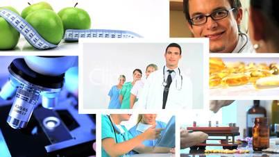 Collage aus Bildern aus der Medizin / Gesundheitswesen