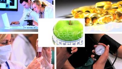 Grüner Apfel mit Bildern aus dem Gesundheitswesen