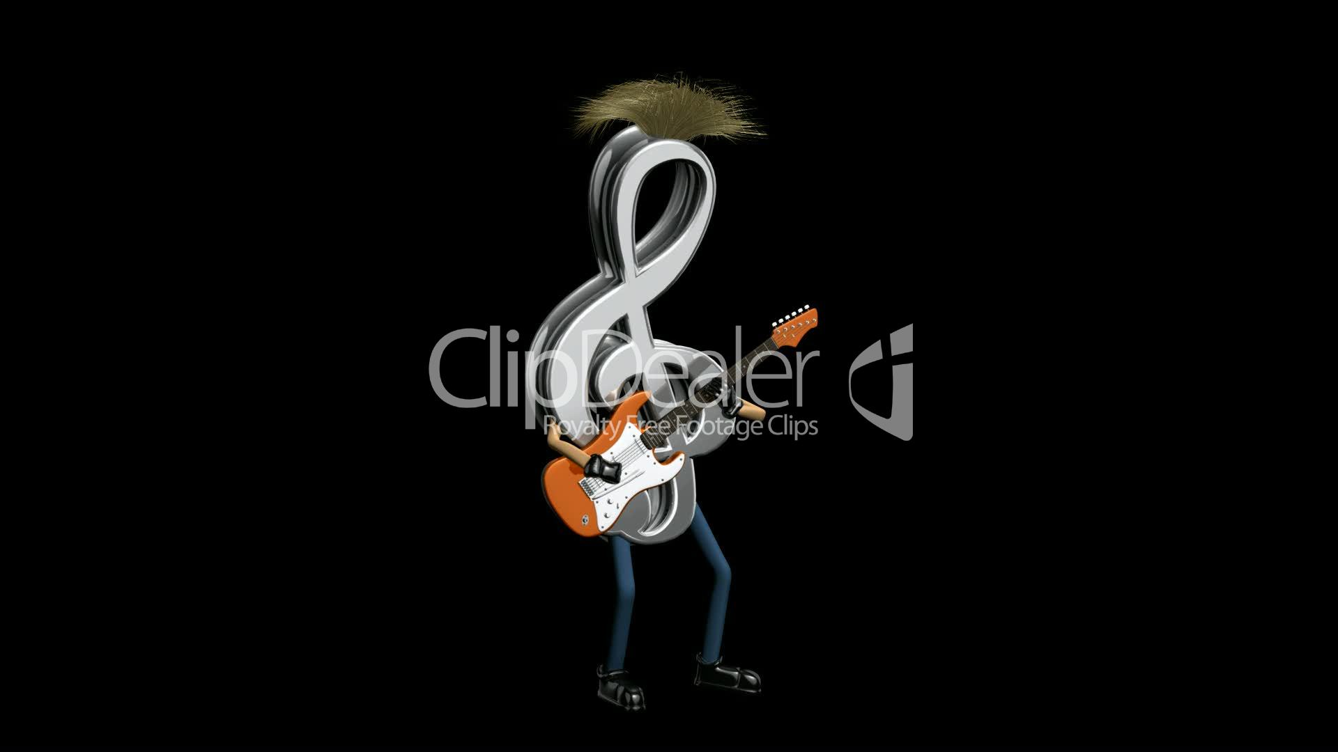 Music Note Playing Guitar with Alpah Channel HD1080: Royalty