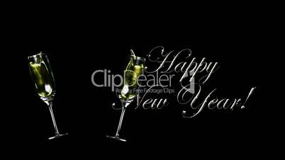 Happy New Year with Wine Glasses HD1080