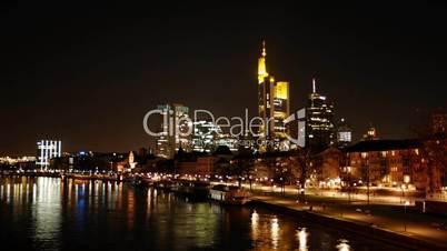 HD1080p Frankfurt Skyline bei Nacht (Zeitraffer/Timelapse)