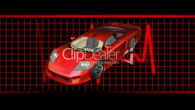 Sports Car with Ekg Background HD1080 Loopable