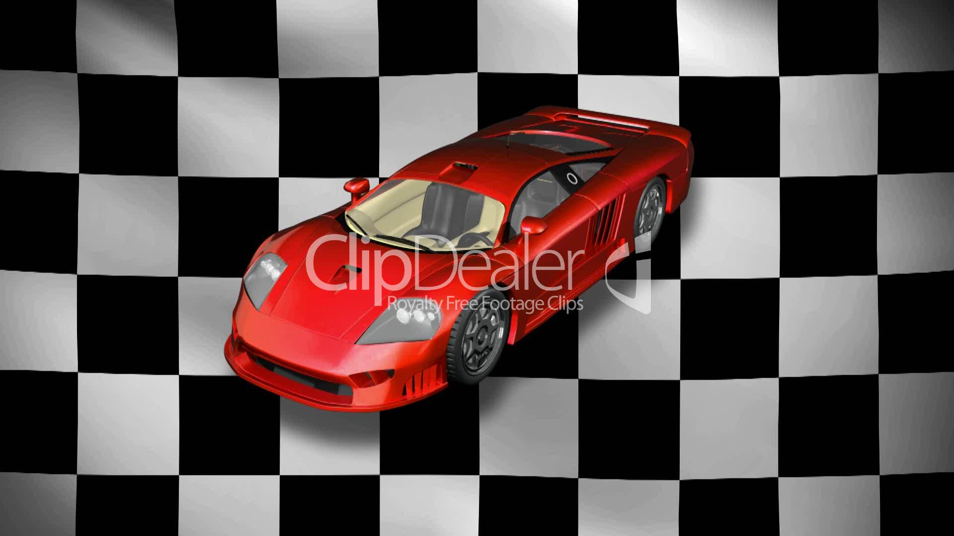 Sports Car with Checkered Flag HD1080: Royalty-free video and stock ...
