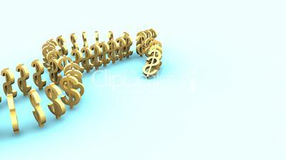 Falling domino made of dollar symbol