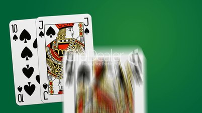 Poker win combination - two different playing cards animations