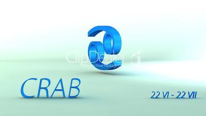 3d rotating crab zodiacal symbol, loopable