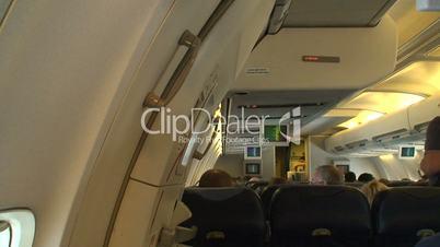 Inside of a passenger plane