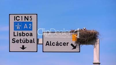 Storchennest auf Straßenschild in Portugal
