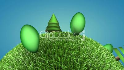 Closeup of 3d cartoon green planet - alpha mate, loopable
